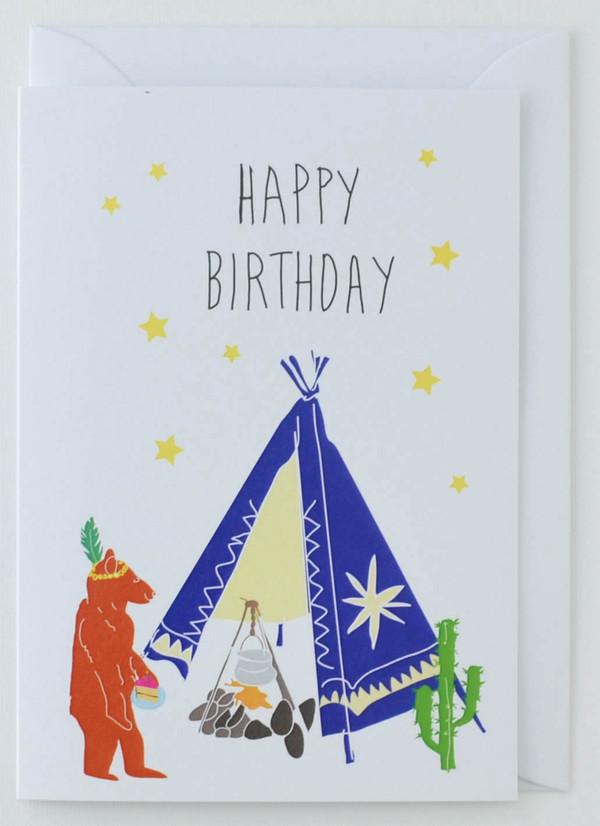 Bear Tipi - Birthday Card