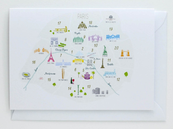 Arrondisements of Paris Map - Greeting Card