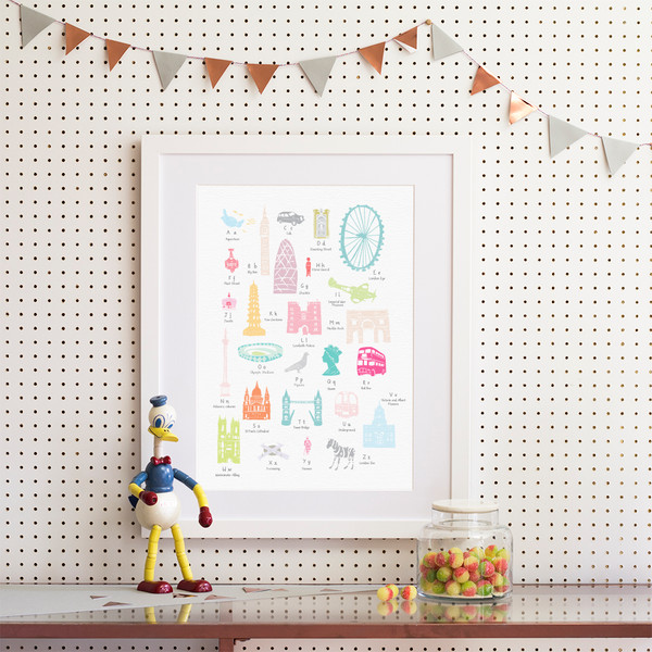 Illustrated hand drawn A to Z London design by UK artist Holly Francesca. All prints can come framed or unframed.