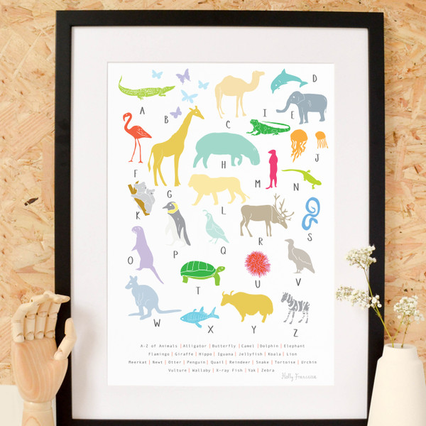 Illustrated hand drawn A to Z of Animals Art Print