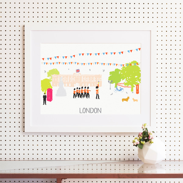 Illustrated hand drawn Buckingham Palace, London scene art print by artist Holly Francesca.