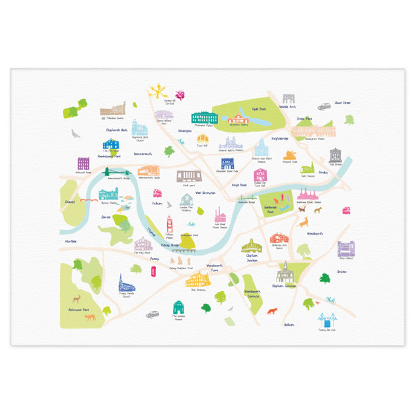 Map of Central South West London Art Print (Various Sizes)