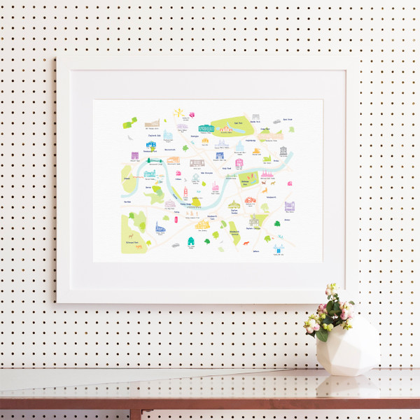 Illustrated hand drawn Map of Central South West London art print by artist Holly Francesca.