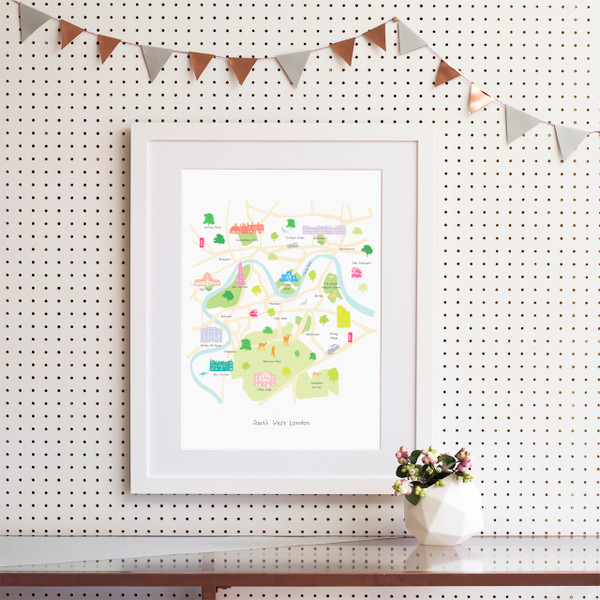 Illustrated hand drawn Map of South West London art print by artist Holly Francesca.