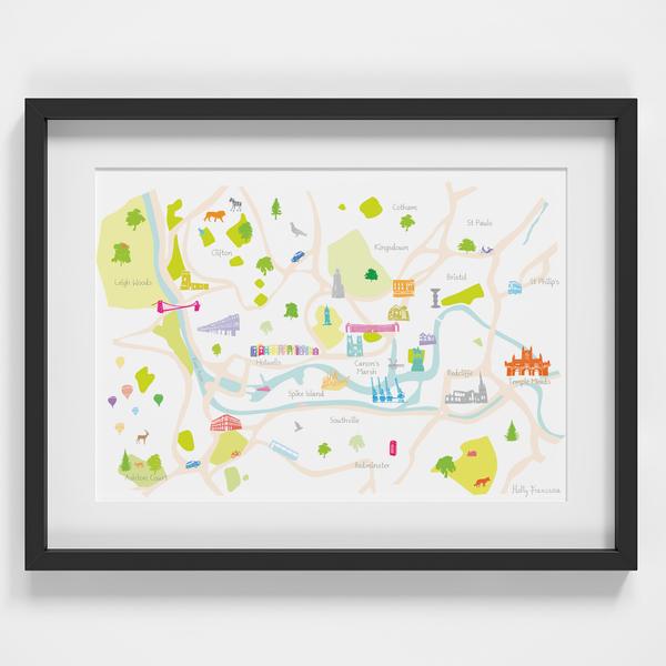 Map of Bristol Art Print illustration framed by artist Holly Francesca