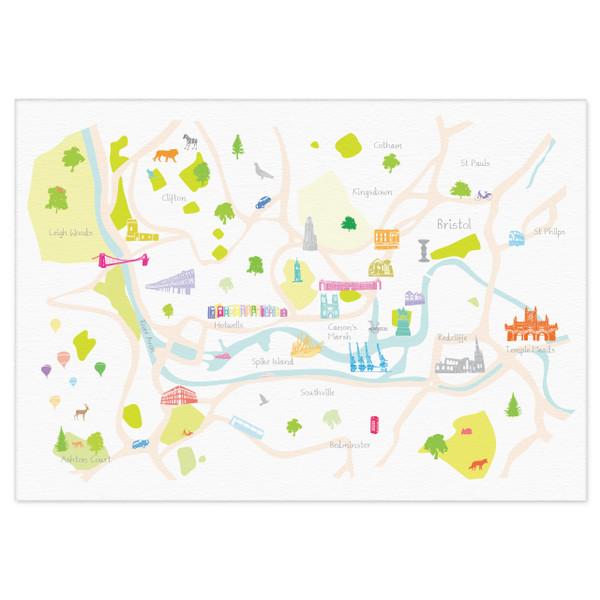 Map of Bristol Art Print illustration unframed by artist Holly Francesca