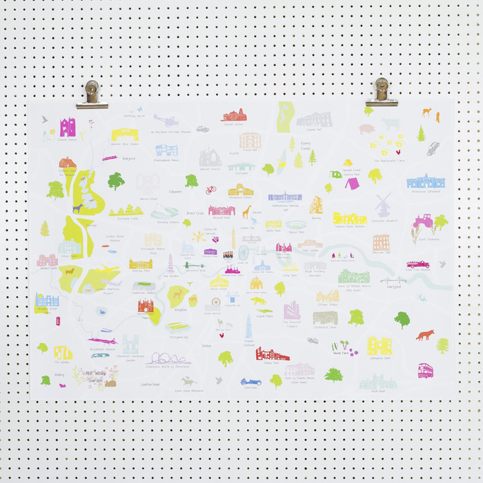 Map Of Greater London Art Print A2 A1 Size Only Holly Francesca