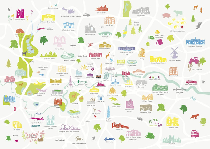 London And Greater London Map.Map Of Greater London Art Print A2 A1 Size Only