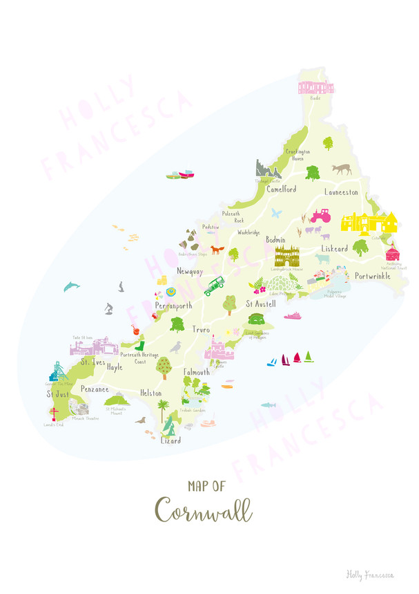 Illustrated Hand Drawn Map Of Cornwall Art Print By Artist Holly