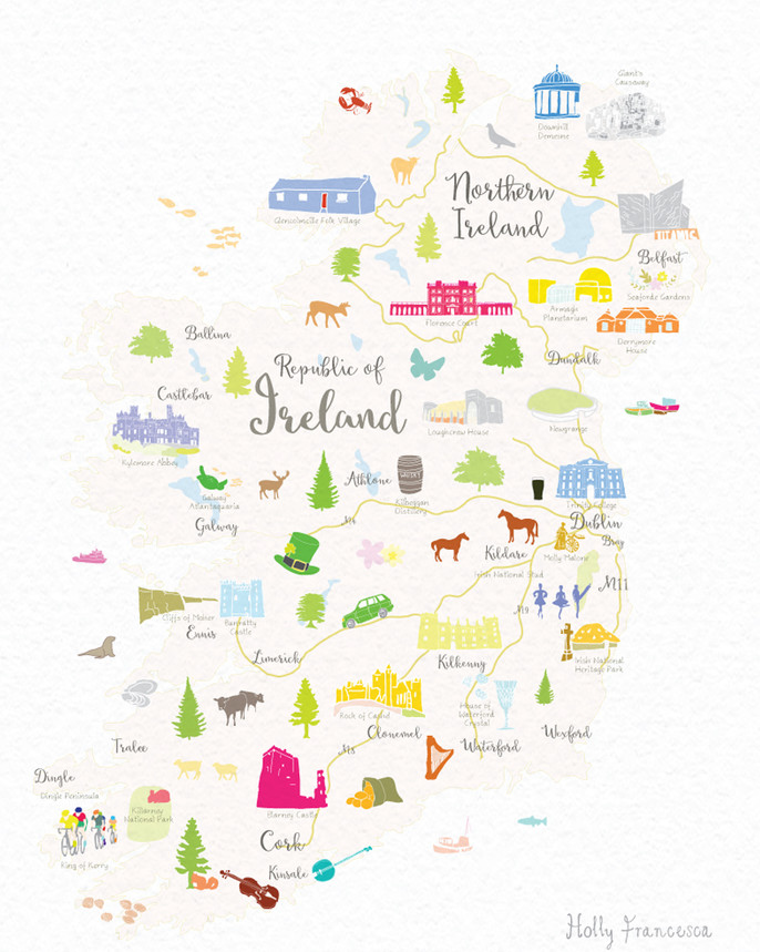 Map Of Ireland Print.Illustrated Hand Drawn Map Of Ireland By Uk Artist Holly Francesca
