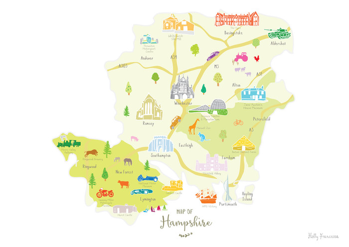 Map Of The South Of England.Map Of Hampshire Art Print Various Sizes