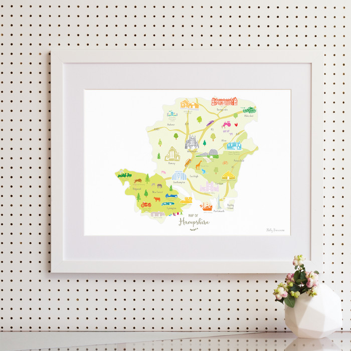 Map of Hampshire in South West England framed print illustration