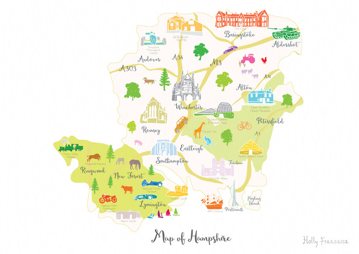 Map South Of England.Map Of Hampshire Art Print Various Sizes