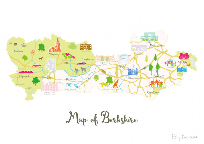 Map Of The South West Of England.Illustrated Hand Drawn Map Of Berkshire By Uk Artist Holly Francesca