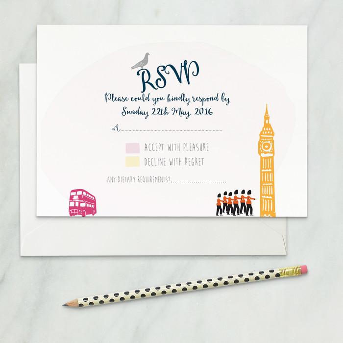 London wedding rsvp card front side