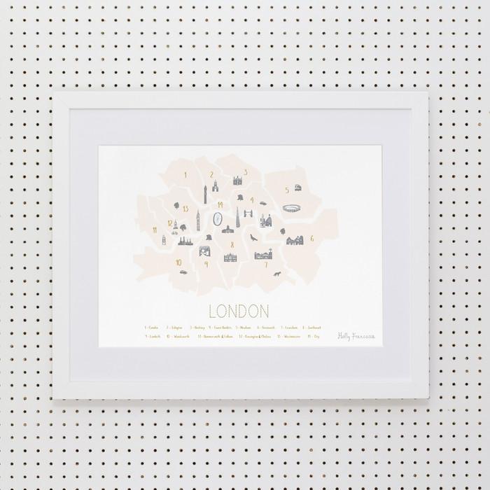 London Boroughs 'Minimalist' Art Print (Peach Blush)