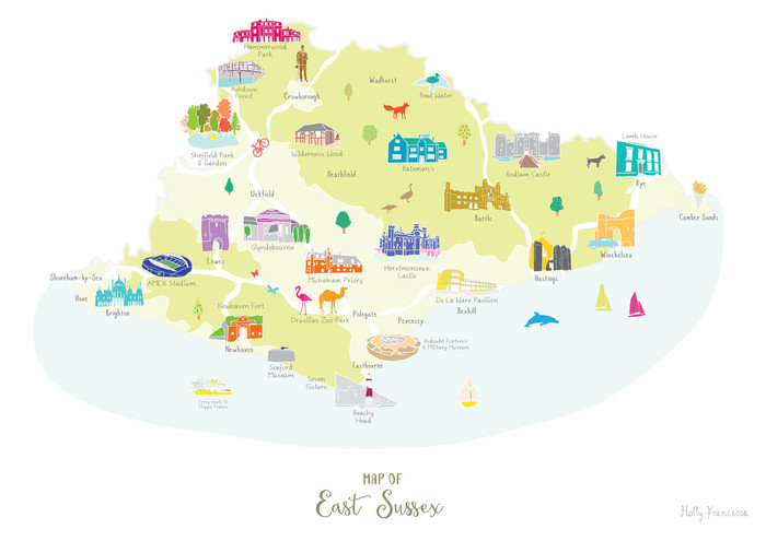 Illustrated Hand Drawn Map Of East Sussex By Uk Artist Holly Francesca
