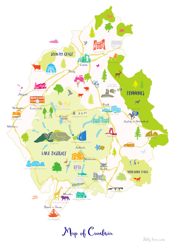 Map Of England Lake District.Map Of Cumbria Art Print Various Sizes