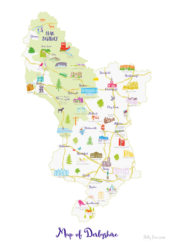 Map Of England Derbyshire.Map Of Derbyshire Art Print Various Sizes