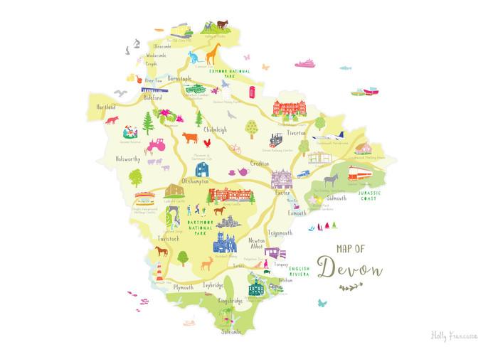 South Devon England Map.Illustrated Hand Drawn Map Of Devon By Uk Artist Holly Francesca
