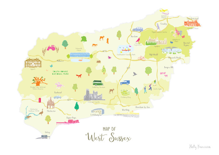 Illustrated Hand Drawn Map Of West Sussex By Uk Artist Holly Francesca