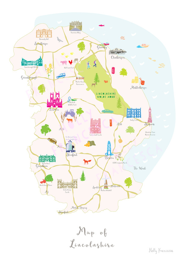 Map Of England Lincolnshire.Map Of Lincolnshire Art Print Various Sizes