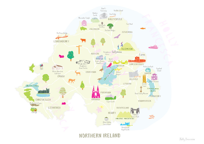 Map Of Ireland Print.Map Of Northern Ireland Art Print Various Sizes Holly Francesca