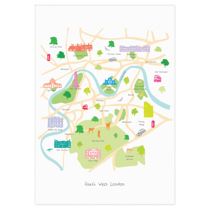 South London Map.Map Of South West London Art Print Various Sizes