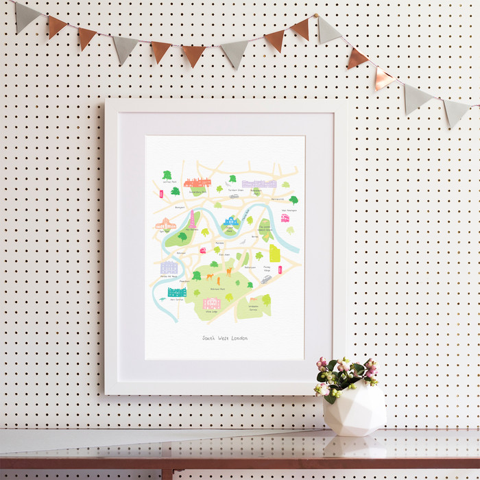 Map of South West London Art Print (Various Sizes) - Holly Francesca