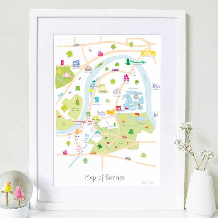 Map of Barnes Art Print (Various Sizes)