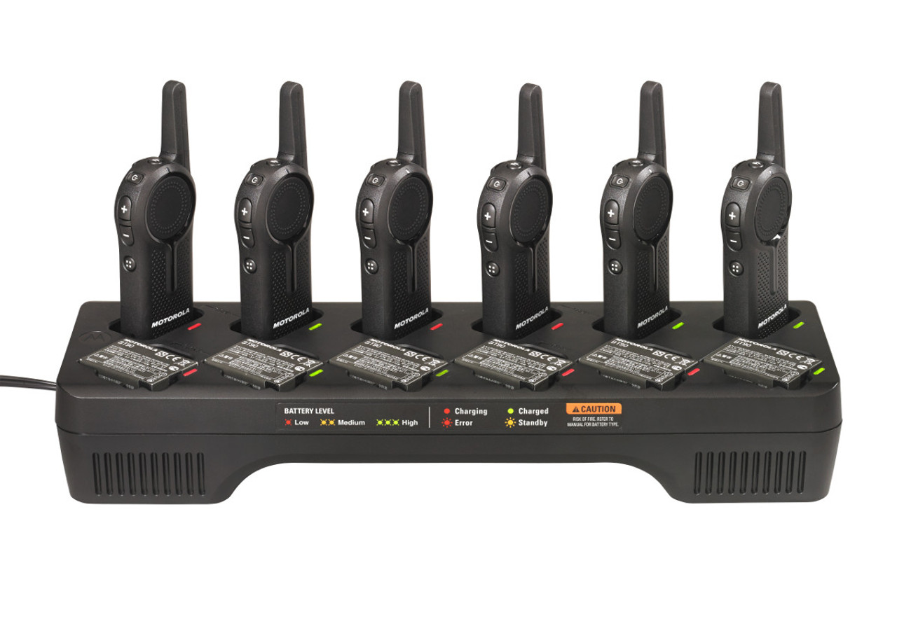 Motorola PMLN7136 DLR Series 12 Port Charging Tray can charge 12 radios or 12 batteries or a combination of both.