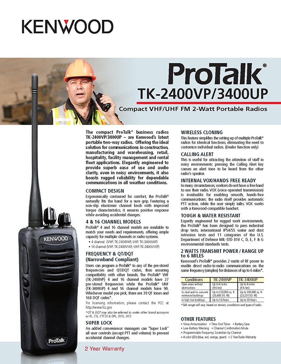 Kenwood ProTalk TK-3400UP Spec Sheet Page 1 of 2