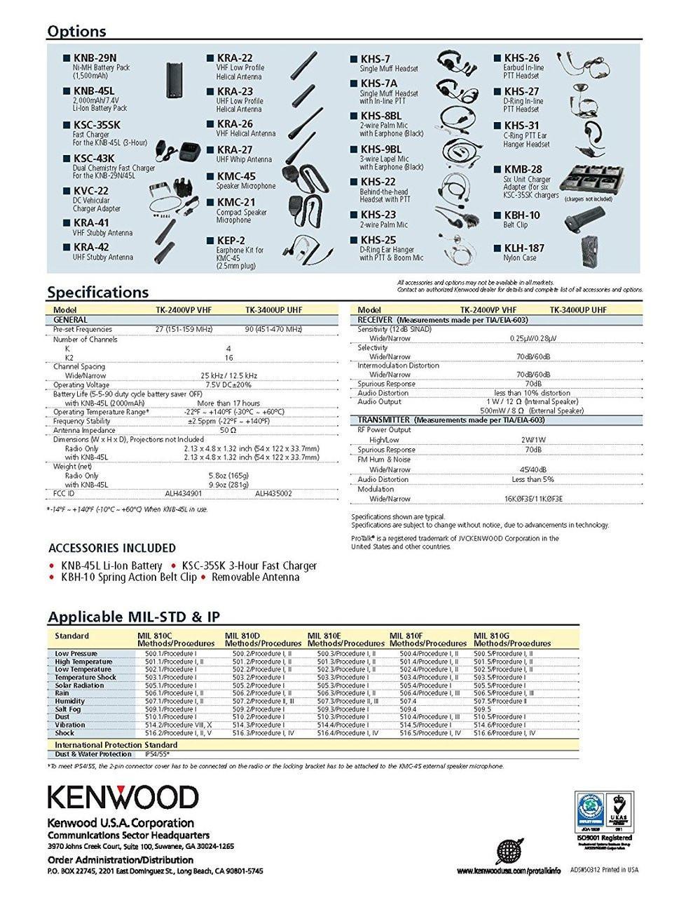 Kenwood ProTalk TK3400U16P 2 Watt 16 Channel UHF Two Way Radio Spec Sheet Page 2 of 2