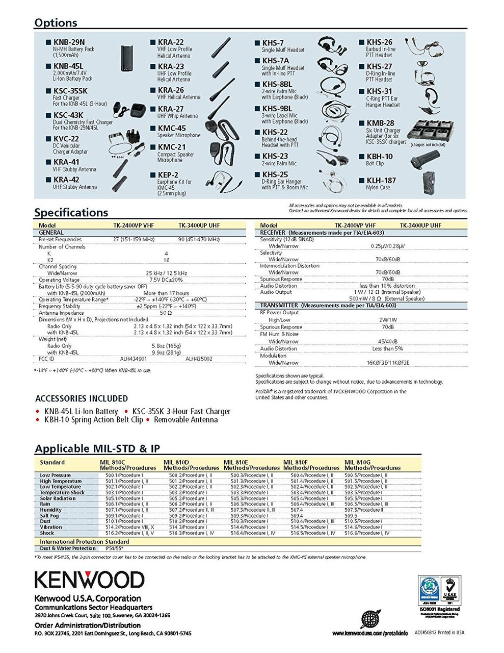 Kenwood ProTalk TK2400V4P 2 Watt 4 Channel VHF Two Way Radio Spec Sheet Page 2 of 2