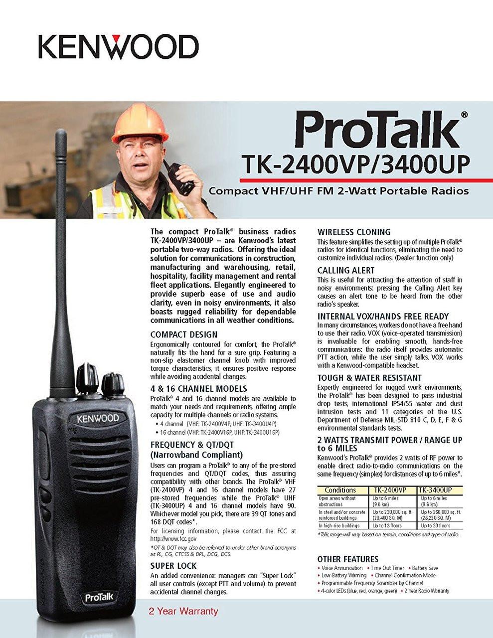 Kenwood ProTalk TK-2402V16P Spec Sheet Page 1 of 2
