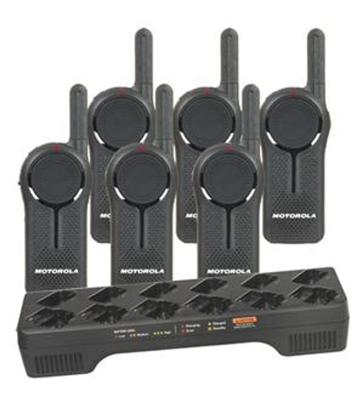 Motorola DLR1020 Digital Way Radio Six Pack with Multi-Unit Charging Tray