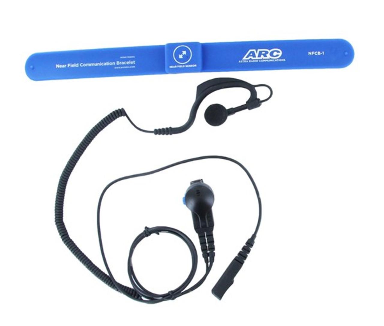 Astra G36 Touch Free Earpiece w/ Wireless Bracelet for Kenwood and Motorola two Way Radios