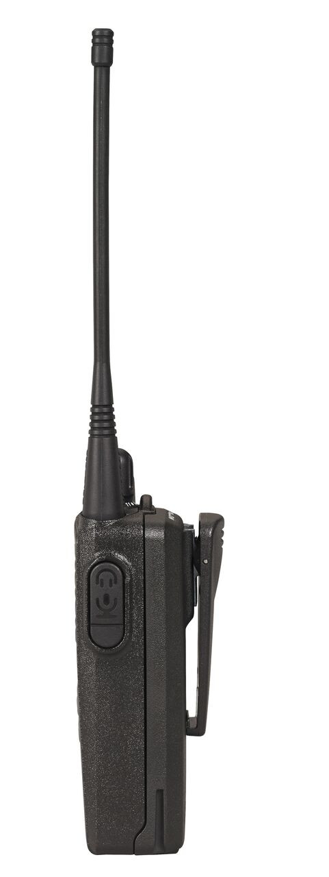 Side view of the Motorola CP185 UHF or VHF Two Way Radio.