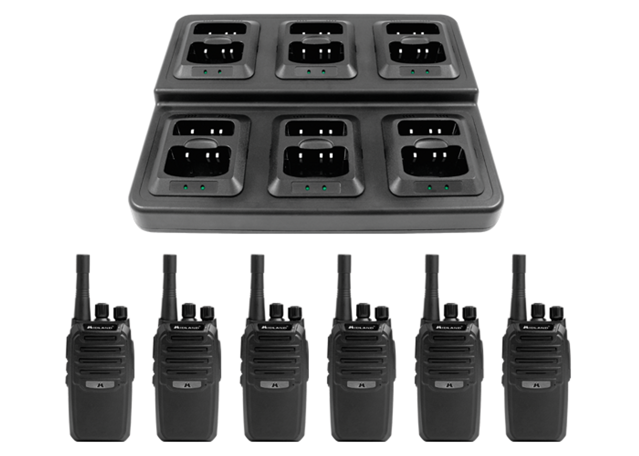 Midland BR200X6BGC 6 Pack of BR200 two way radios and a 6 port multi-unit charging tray