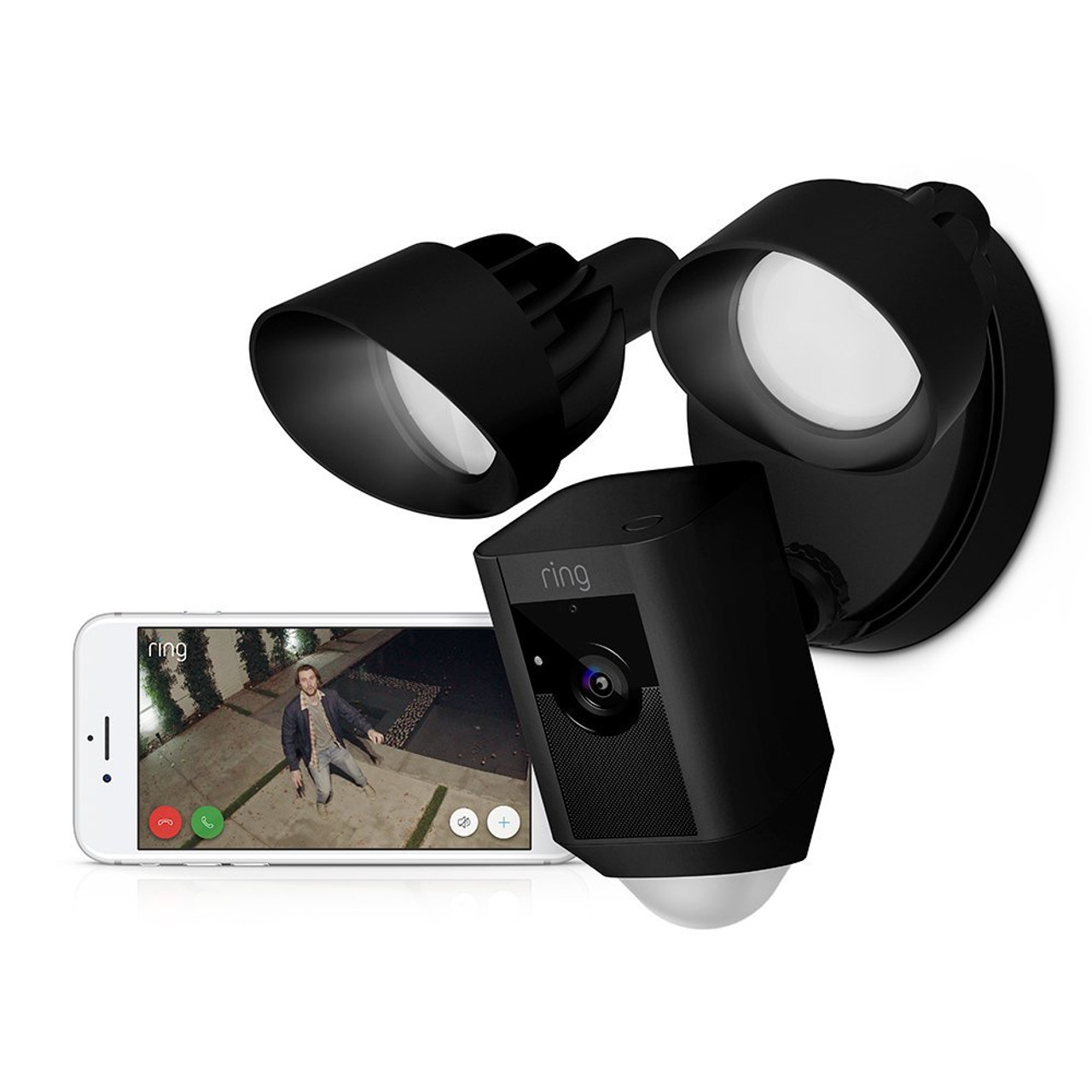 Ring Floodlight Cam in Black Showcasing the Ring App