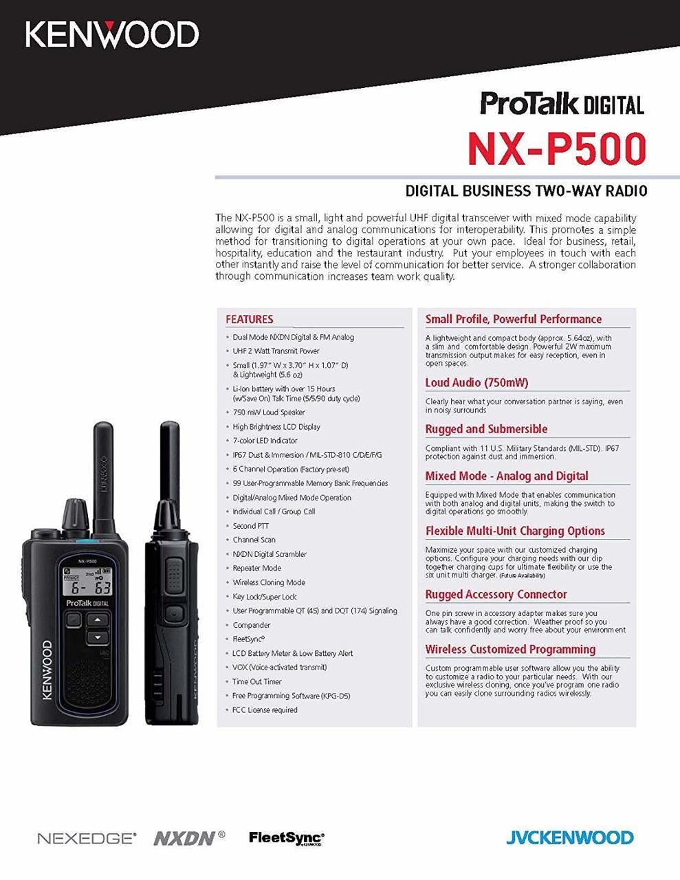 Kenwood NX-P500 Spec Sheet Page 1