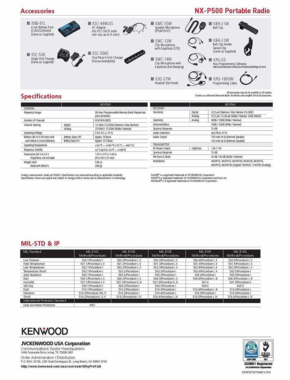 Kenwood NX-P500 Spec Sheet Page 2