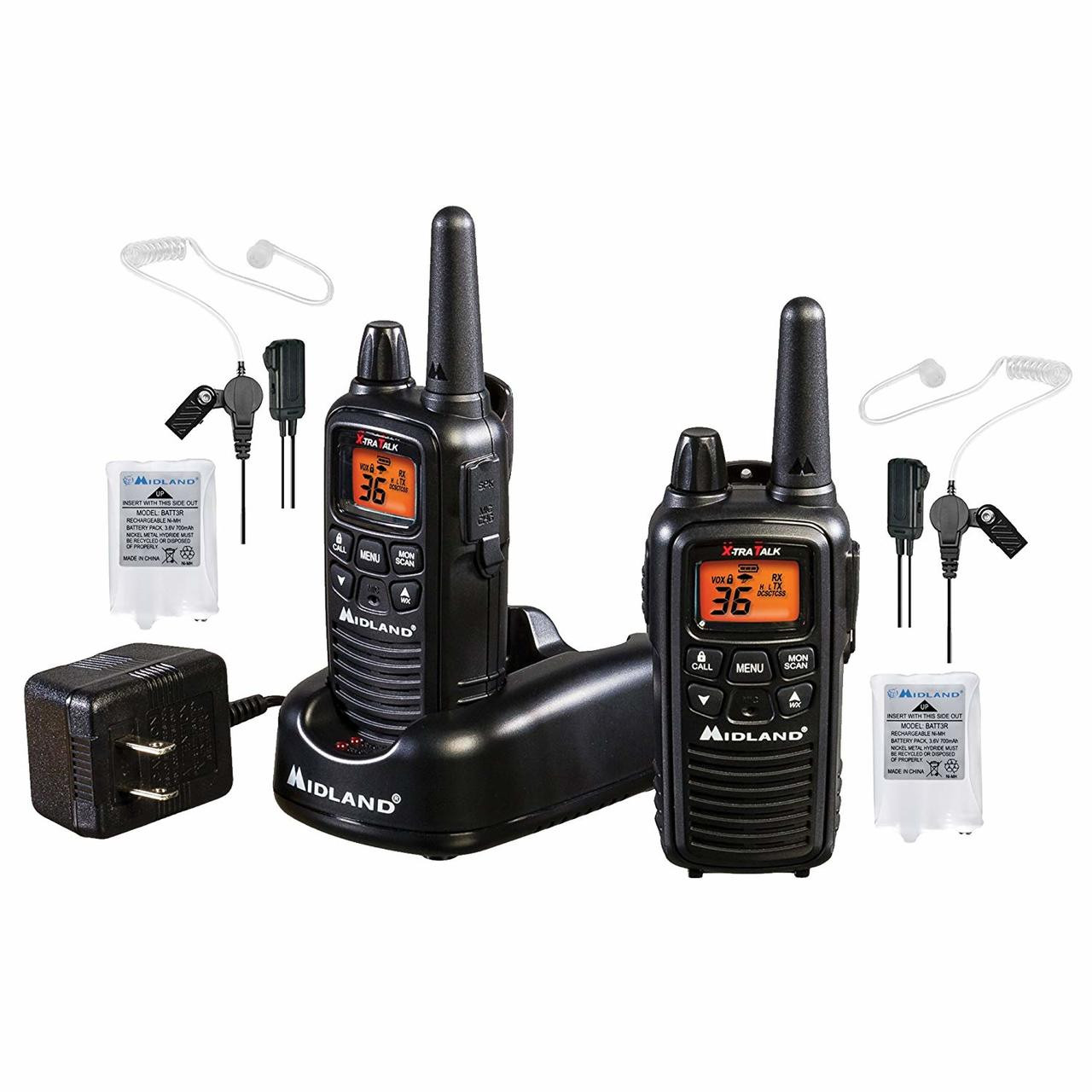 Midland LXT600BB FRS Business Two Way Radio Bundle with Charger and Headsets.   3 Year warranty on the Midland LXT600BB.