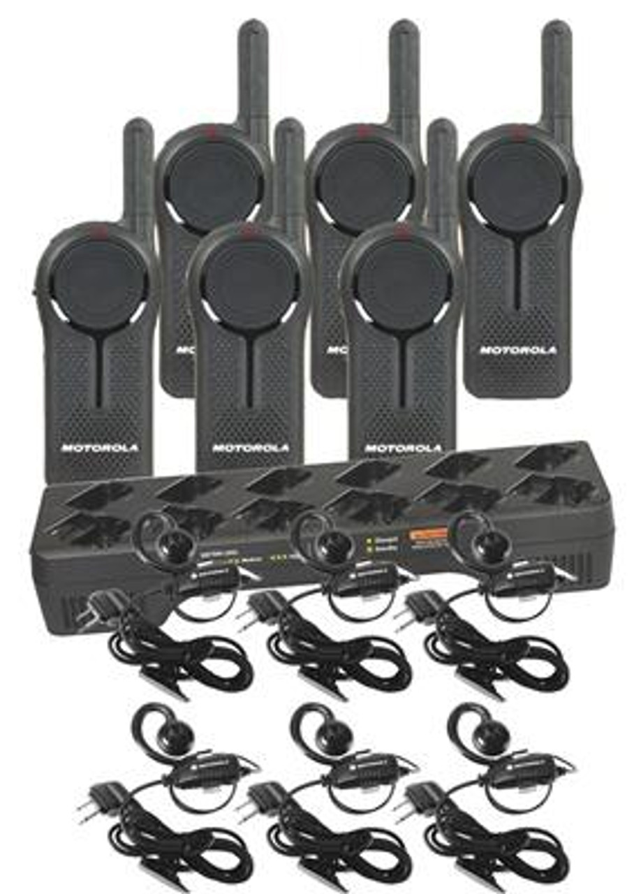 Motorola DLR1060 6 Pack of two way radios, HKLN4604 Headsets, and a 12 Station Multi-Unit Charger