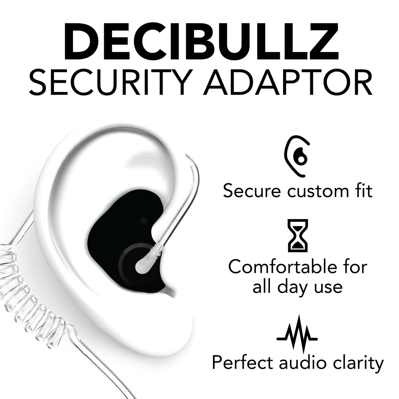 DECIBULLZ Molded Earplug with Security Adapter for Surveillance Microphones