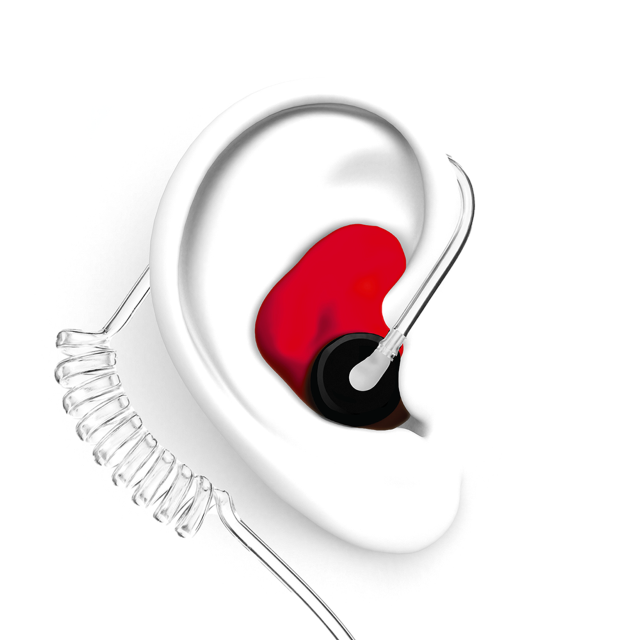 DECIBULLZ Red Custom Earplug for Two Way Radio Headsets