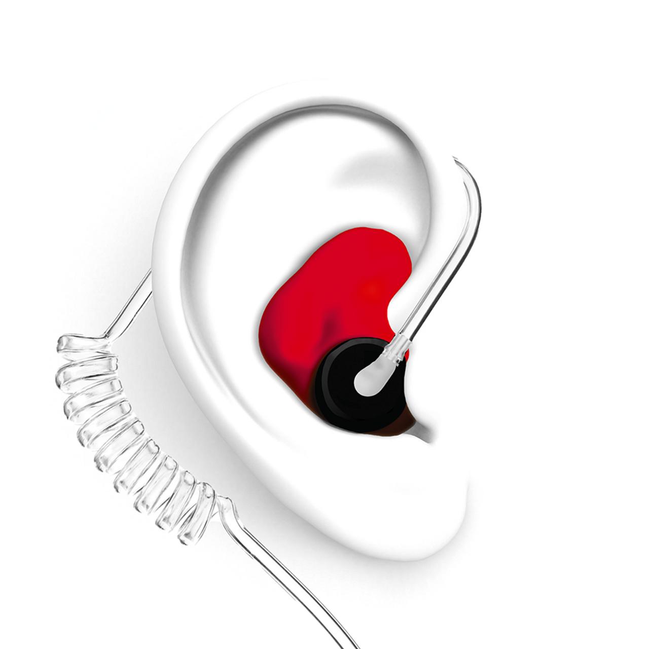 DECIBULLZ Red Custom Earplug for Two Way Radio Headsets