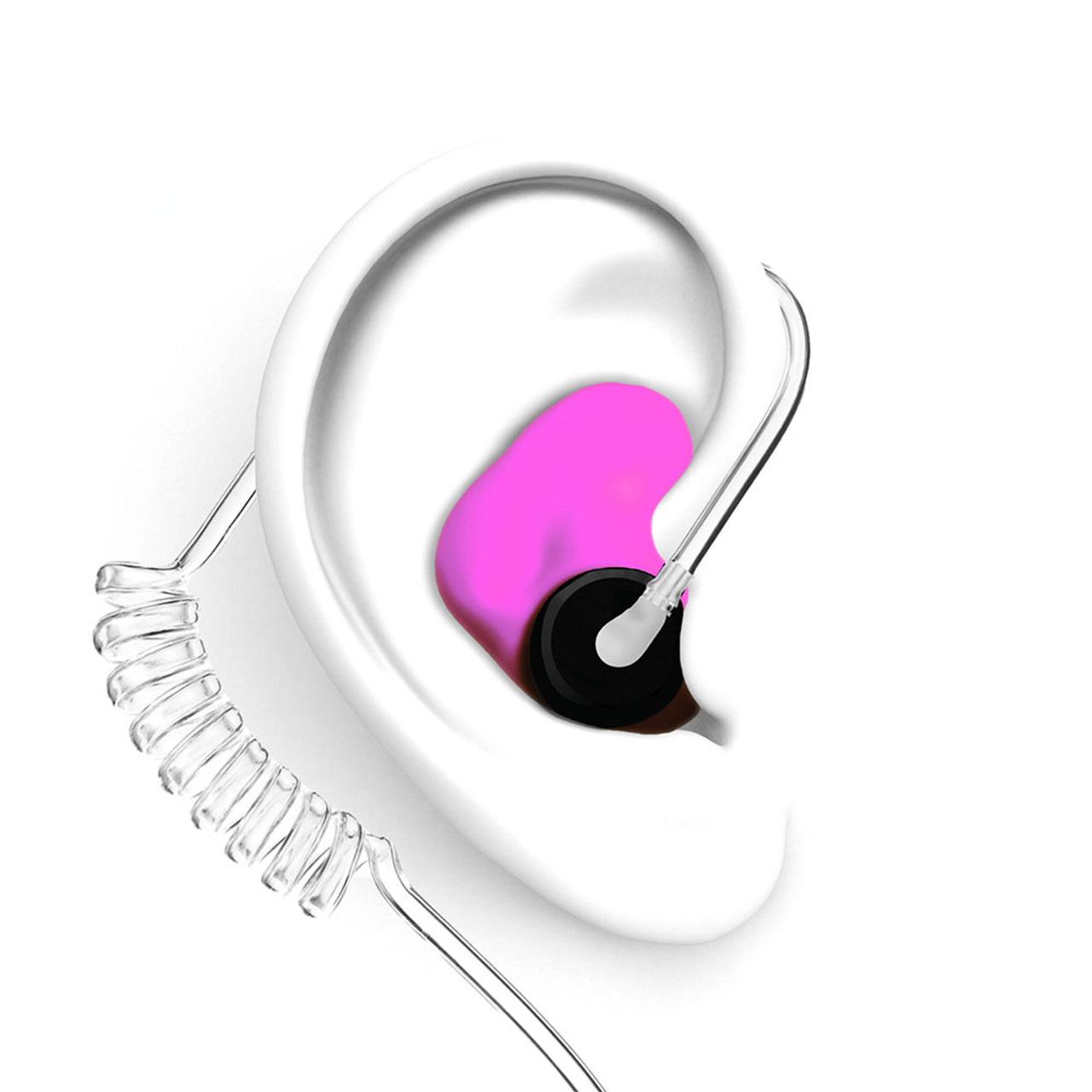 DECIBULLZ Pink Custom Earplug for Two Way Radio Headsets