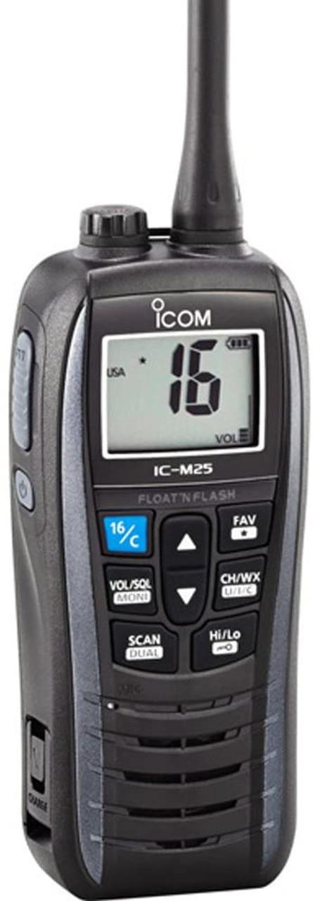 ICOM M25 VHF Handheld Marine Radio with Gray Housing