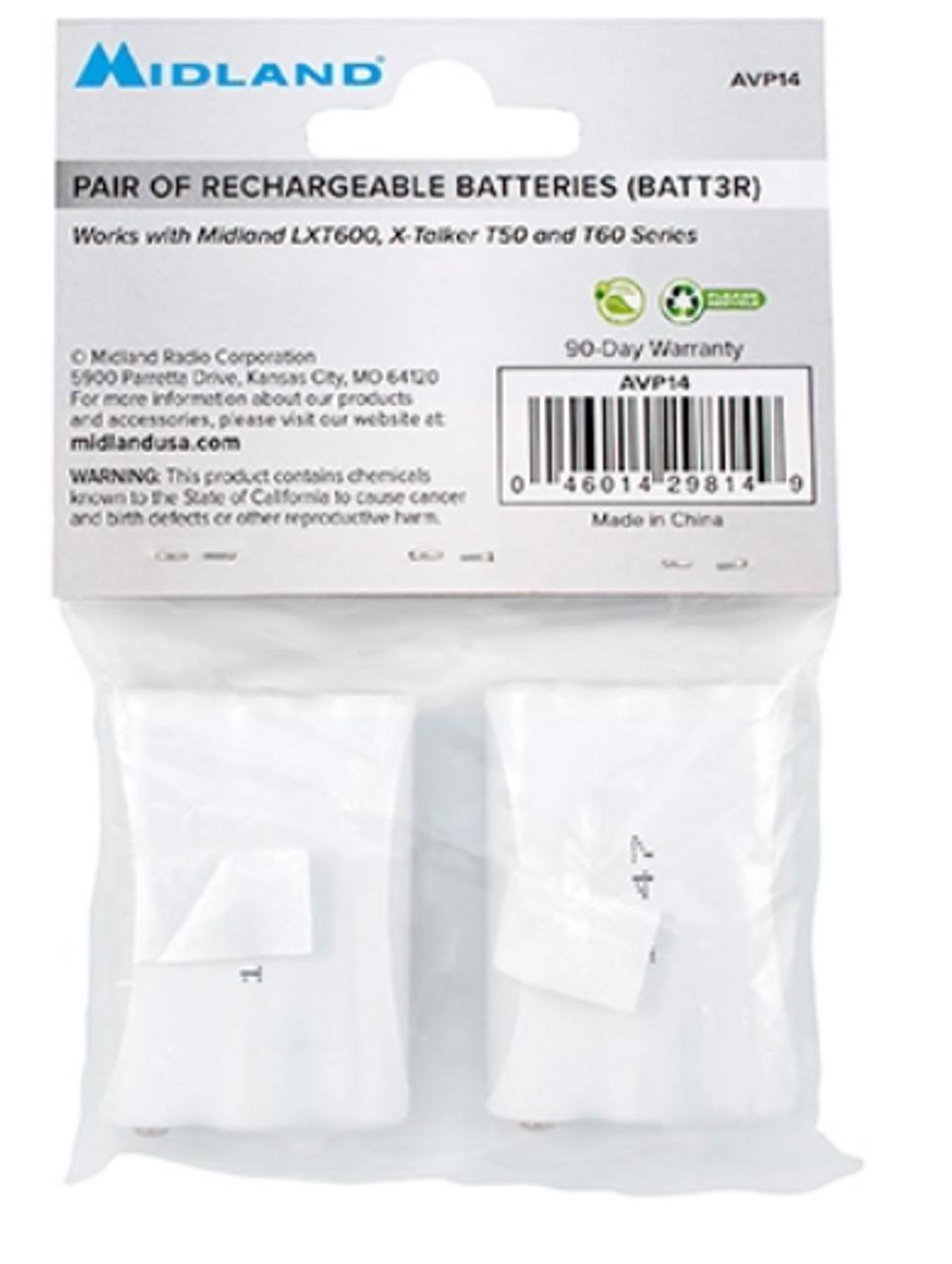 Midland AVP14 batteries are also packaged as BATT3R.